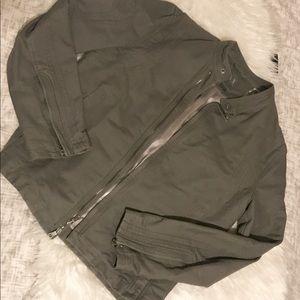 Men's Armani grey bomber moto sports jacket